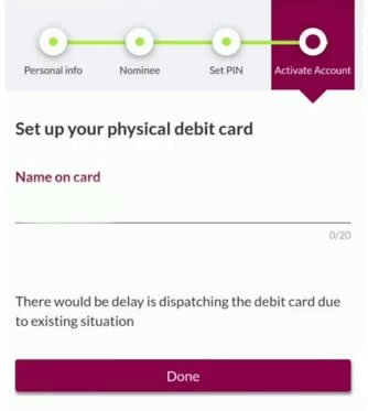 set up your physical debit card