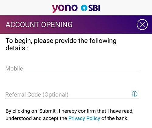 enter mobile number for account opening