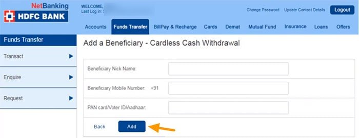 cardless cash withdrawal hdfc atm hdfc bank