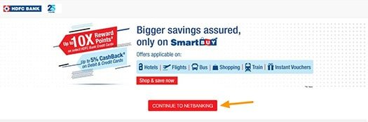 continue to hdfc net banking