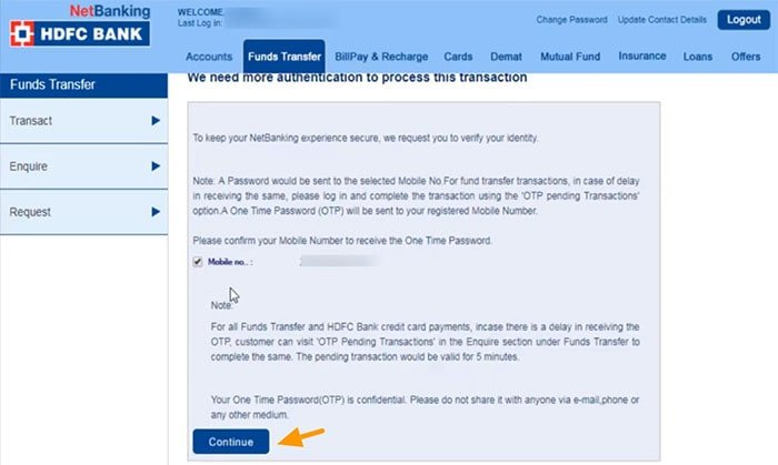 funds transfer authentication process