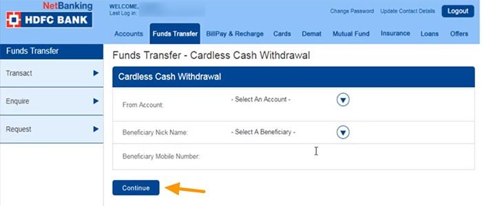 funds transfer cardless cash withdrawal